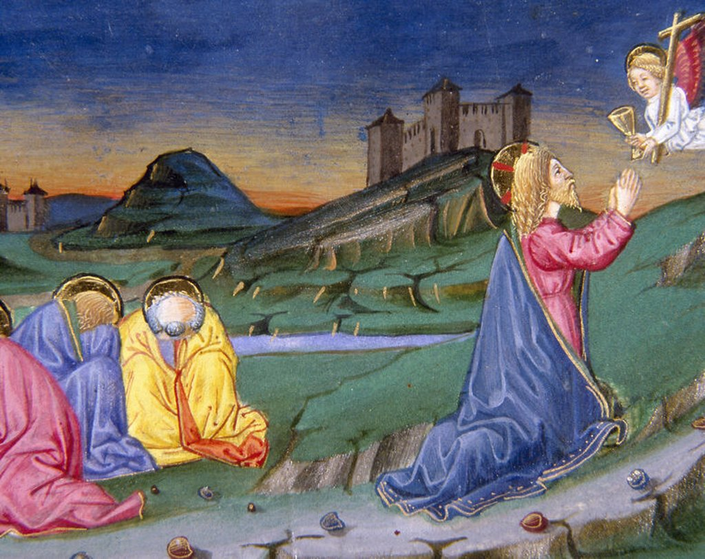 Stock Photo: 4409-45724 After having prayed in the Garden of Gethsemane, an angel from heaven comes to comfort. Codex of Predis (1476). Royal Library. Turin. Italy.
