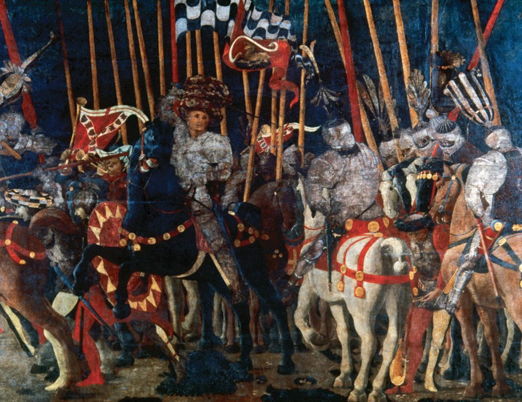 Paolo Uccello (1397-1475). The Battle of San Romano. Counterattack of Michelotto da Cotignola. 1456. Louvre Museum. Paris. France. : Stock Photo