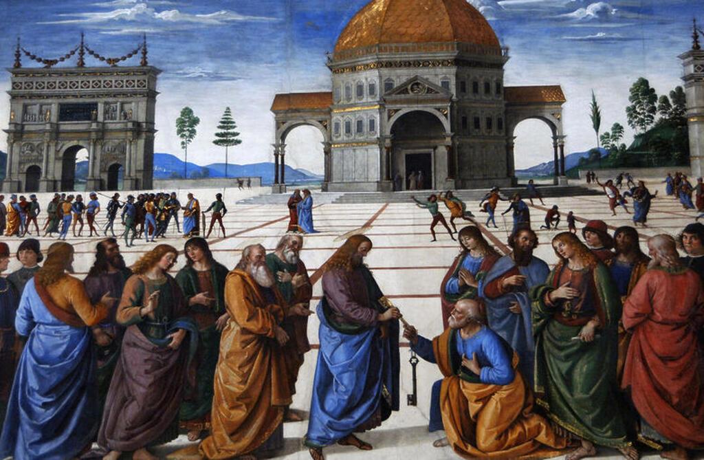 """ARTE RENACIMIENTO. ITALIA. PIETRO PERUGINO (1450-1523). Pintor italiano. """"CRISTO ENTREGANDO LAS LLAVES A SAN PEDRO"""" (1481-1482). Fresco lateral de la CAPILLA SIXTINA. Museos Vaticanos. Ciudad del Vaticano. : Stock Photo"""