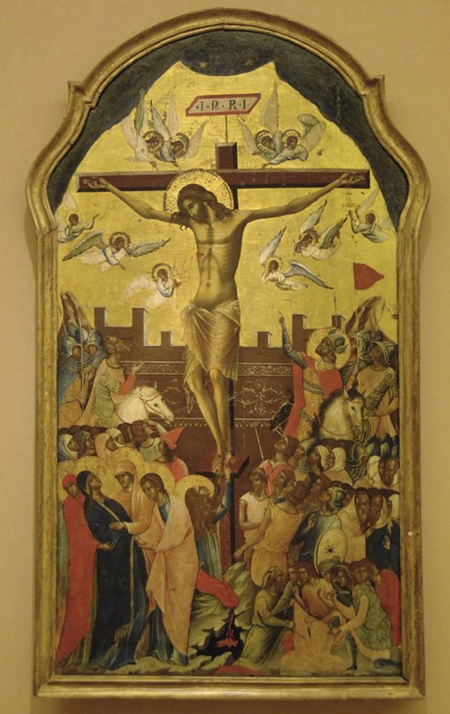 BYZANTINE ART. GREECE. ICON with the crucifixion scene. Attributed to the circle of the Venetian painter Paolo Veneziano. Mid-fourteenth century. Byzantine Museum. Athens. : Stock Photo