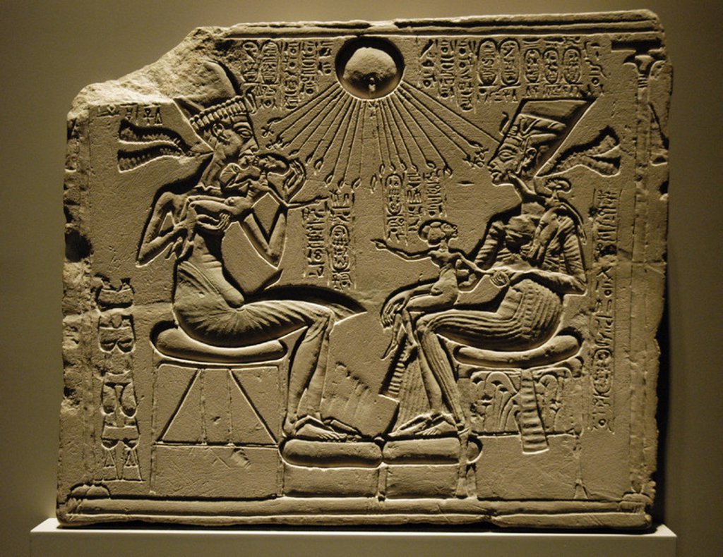 Stock Photo: 4409-45832 Egyptian art. A house altar depicting Akhenaten, Nefertiti and three of their Daughters. Relief. Limestone. New Kingdom. Amarna period. 18th dynasty. C. 1350 B.C. Egyptian Museum of Berlin. Germany.