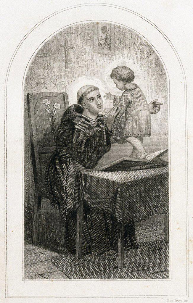 SAN ANTONIO DE PADUA (1195-1231). Religioso franciscano portugués. Es el patrón de Portugal. S. XIII. Grabado S. XIX. : Stock Photo