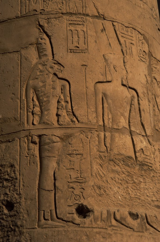Rellief depicting goddess Sekhmet or Sekhmet, head of a lioness and the god Amon. New Kingdom. Temple of Luxor. Egypt. : Stock Photo