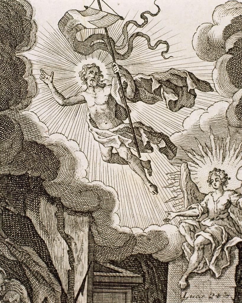 Luke 24. Resurrection of Jesus. Engraving. : Stock Photo