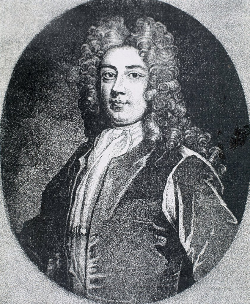 WALPOLE, Sir Robert (Houghton ,1676-London, 1745). First Earl of Oxford. English politician. Member of the House of Commons since 1701, he emerged as one of the leaders of the Whig party and served as secretary of war in 1708. Accused of corruption was expelled from Parliament and imprisoned in the Tower of London. Engraving. : Stock Photo