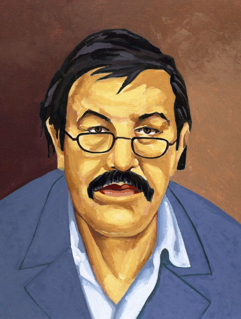 Stock Photo: 4409-46008 Gunter Grass (b. 1927). German writer. Nobel Prize in Literature in 1999. Portrait. Drawing.