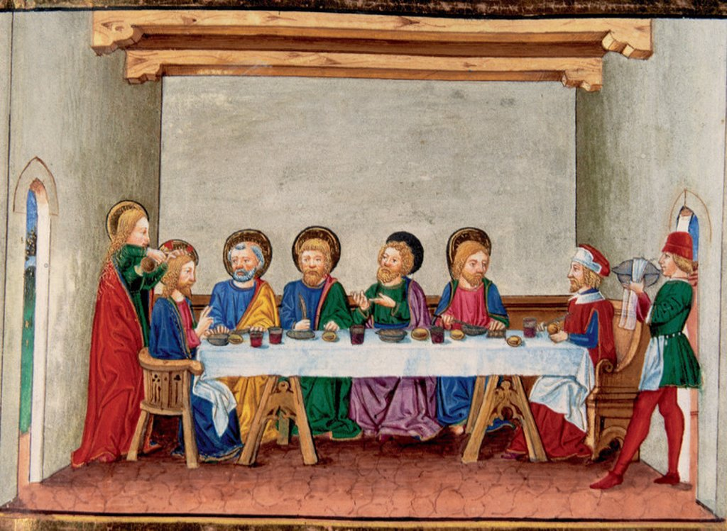 Stock Photo: 4409-46047 While sitting at table in Bethany, a woman applied an ointment to Jesus. Codex of Predis (1476). Royal Library. Turin. Italy.