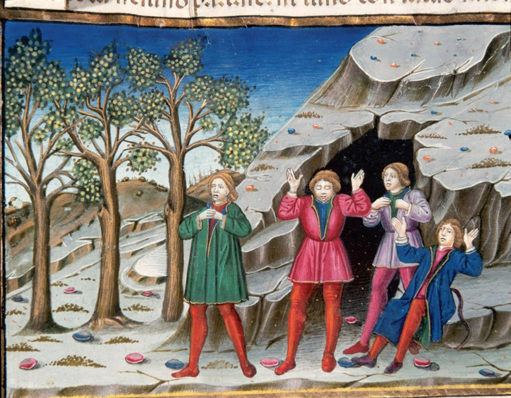 Stock Photo: 4409-46078 The end of the world and the Last Judgement. The men will leave the cave without being able to speak or hear. Codex of Predis (1476). Royal Library. Turin. Italy.