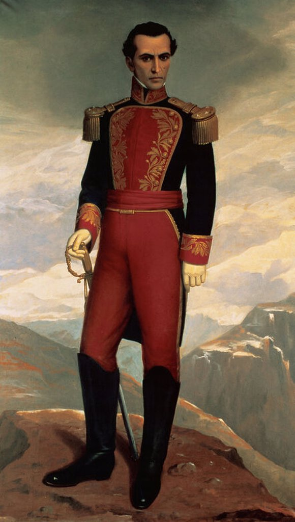 Stock Photo: 4409-46104 Simon Bolivar (1783-1830), known as El Libertador. Portrait by Antonio Salguero (1868-1935). House of Sucre Museum. Quito. Ecuador.
