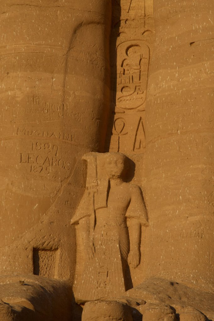 Egyptian Art. Temple of Ramses II (1290-1224 BC). Young prince. Statue near the feet of the colossi of Ramses II.  19th dynasty. New Kingdom. Abu Simbel. Egypt. : Stock Photo
