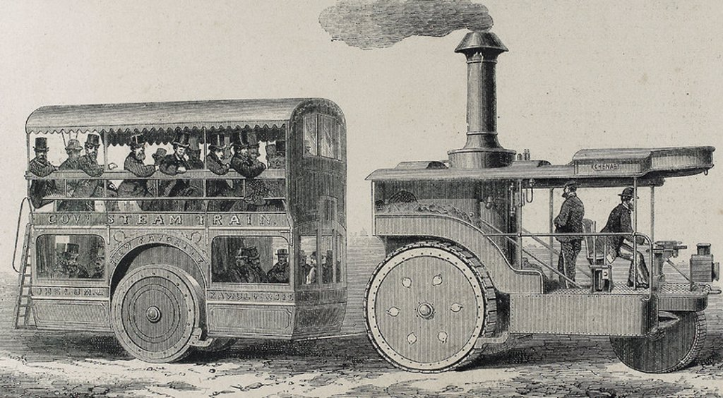 "Stock Photo: 4409-46315 England. Bus powered by steam locomotive. Engraving in ""The Spanish and American Illustration"" (1872)."