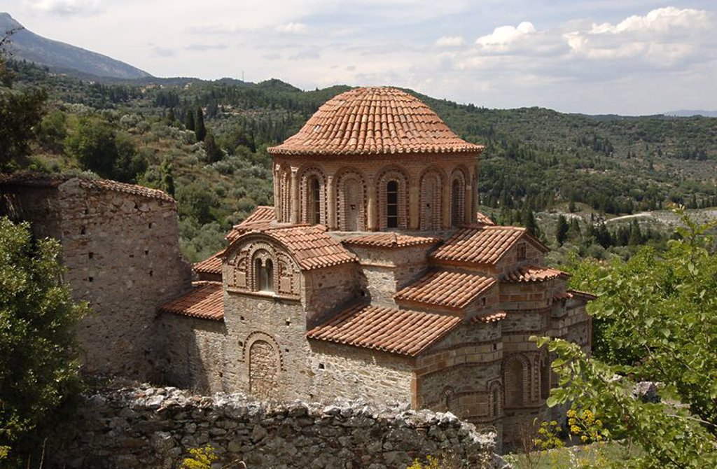 Stock Photo: 4409-46333 BYZANTINE ART. Saints Theodore Church. Built between 1290 and 1295 is one of the oldest church in Mistras.  Outside view.Province of Lakonia.  Peloponnese.