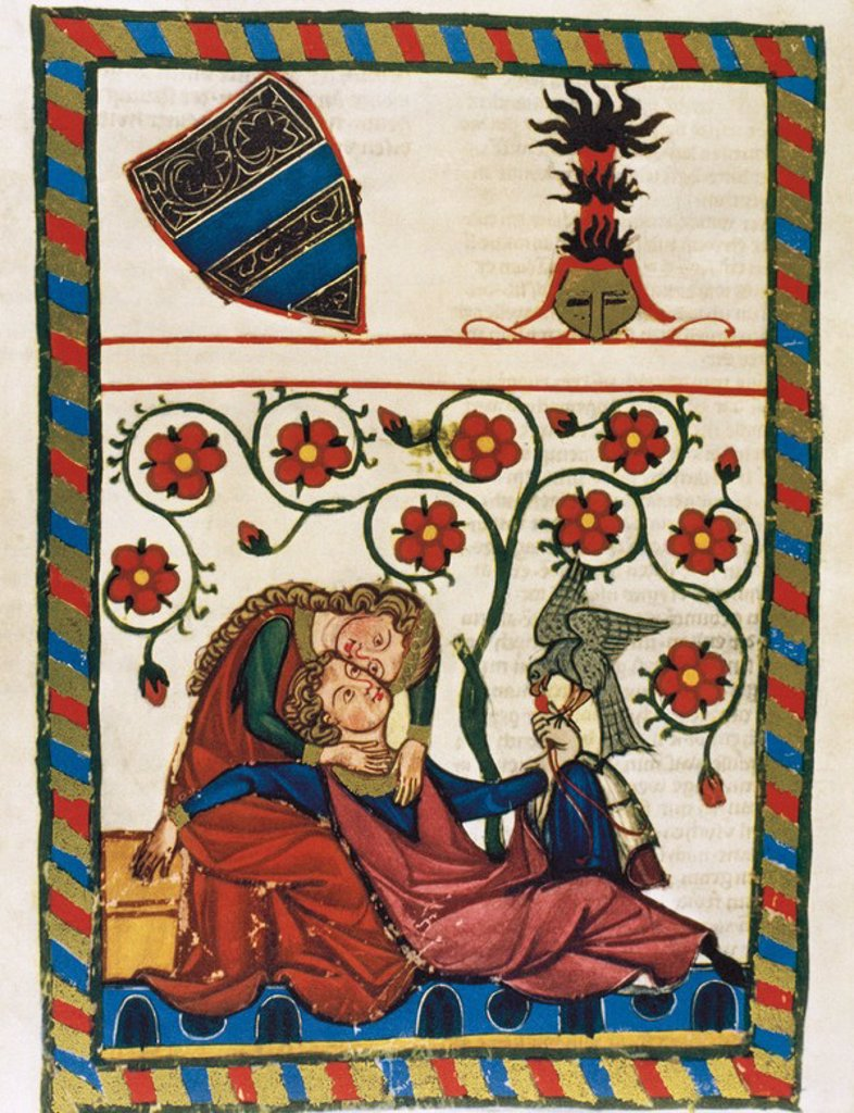 Konrad Von Altstetten, Swiss ministerial rests with his beloved after a whipped hunting. Fol. 249v. Codex Manesse (ca.1300) by Rudiger Manesse and his son Johannes. University of  Heidelberg. Library. Germany. : Stock Photo