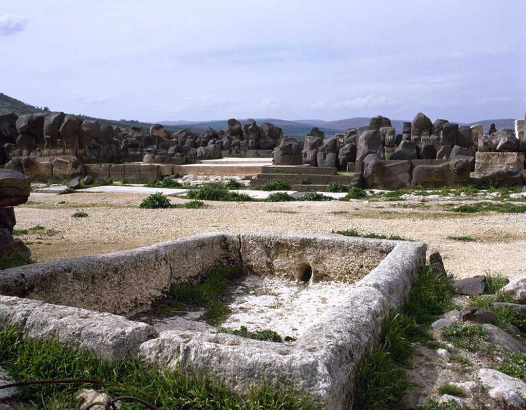 Stock Photo: 4409-46406 The Ain Dara temple. Dating to between the 10th and 8th century B.C. First, ritual pool. Around Aleppo. Syria.