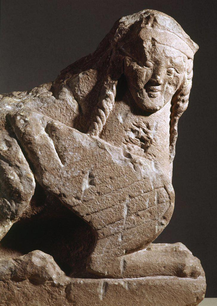 Stock Photo: 4409-46407 ARTE IBERICO. ESPAÑA. ESFINGE IBERICA con cuerpo de león. Procedente de Haches Bogarra (Albacete). Museo de Albacete. Castilla-La Mancha.