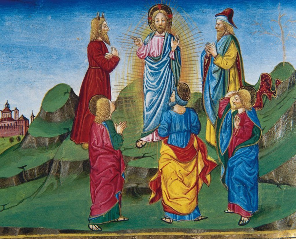 Stock Photo: 4409-46445 Transfiguration of Jesus in the presence of James, Peter and John. Codex of Predis (1476). Royal Library. Turin. Italy.