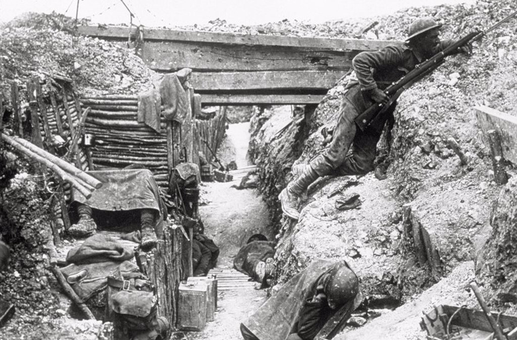 Stock Photo: 4409-46457 World War I (1914-1918). Battle of the Somme (1 July to 15 November 1916) fought between the German army and Franco-British troops. British trenches. Men of the 11th battalion. The Cheshire Regiment, near La Boisselle.