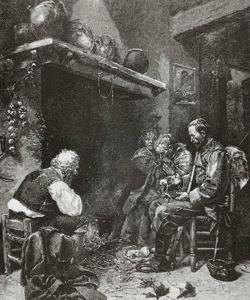 Stock Photo: 4409-46481 Poor family at home. Early nineteenth century. Engraving.