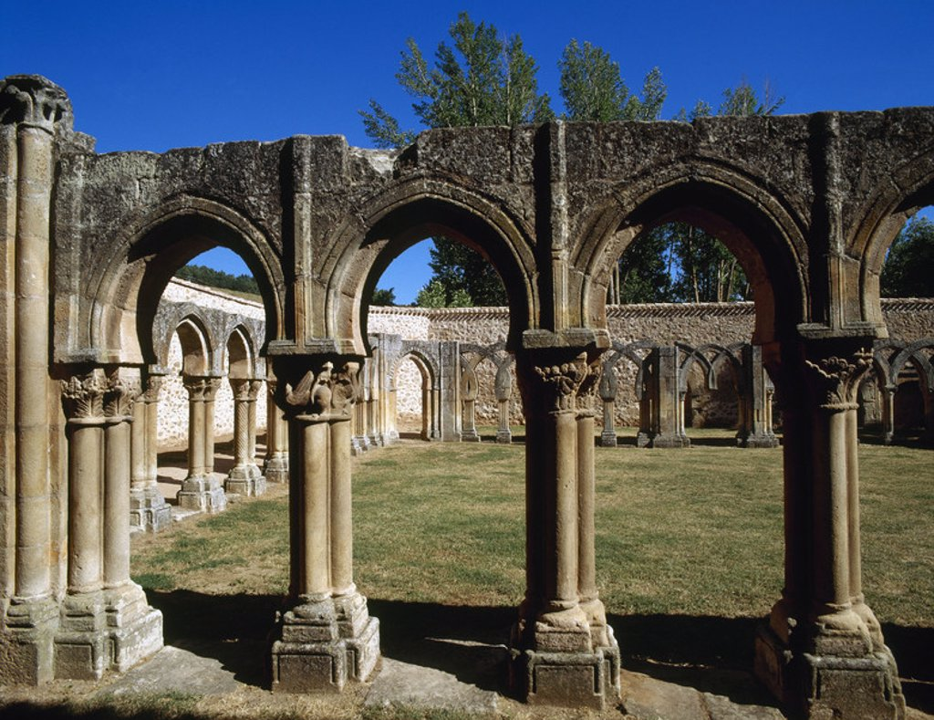 Stock Photo: 4409-46492 Romanesque Art. San Juan de Duero. View of the cloister. XIII century. It contains elements of Romanesque, Gothic, Mudejar style and oriental influences. It was declared a National Monument in 1882. Soria. Castile and Leon. Spain.
