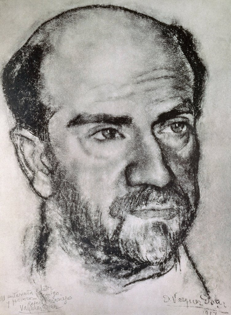 Pio Baroja (1872-1956). Spanish writer. Drawing by Daniel Vazquez Diaz. (1882-1969). Museum of Modern Art. Barcelona. Spain. : Stock Photo