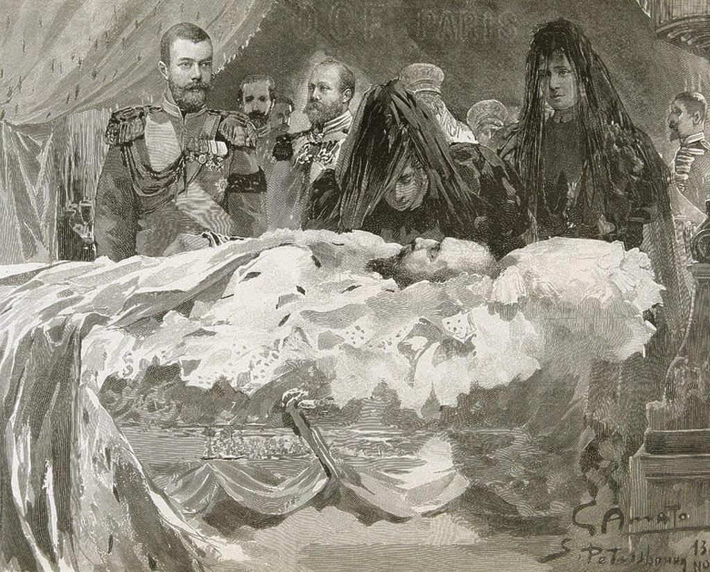 """Stock Photo: 4409-46596 ALEJANDRO III (1845-1894). Zar de Rusia (1881-1894), hijo y sucesor de Alejandro II. """"MUERTE DE ALEJANDRO III. LA FAMILIA IMPERIAL, CON EL FUTURO ZAR NICOLAS II"""". S. XIX. Grabado de 'L'Illustration'."""