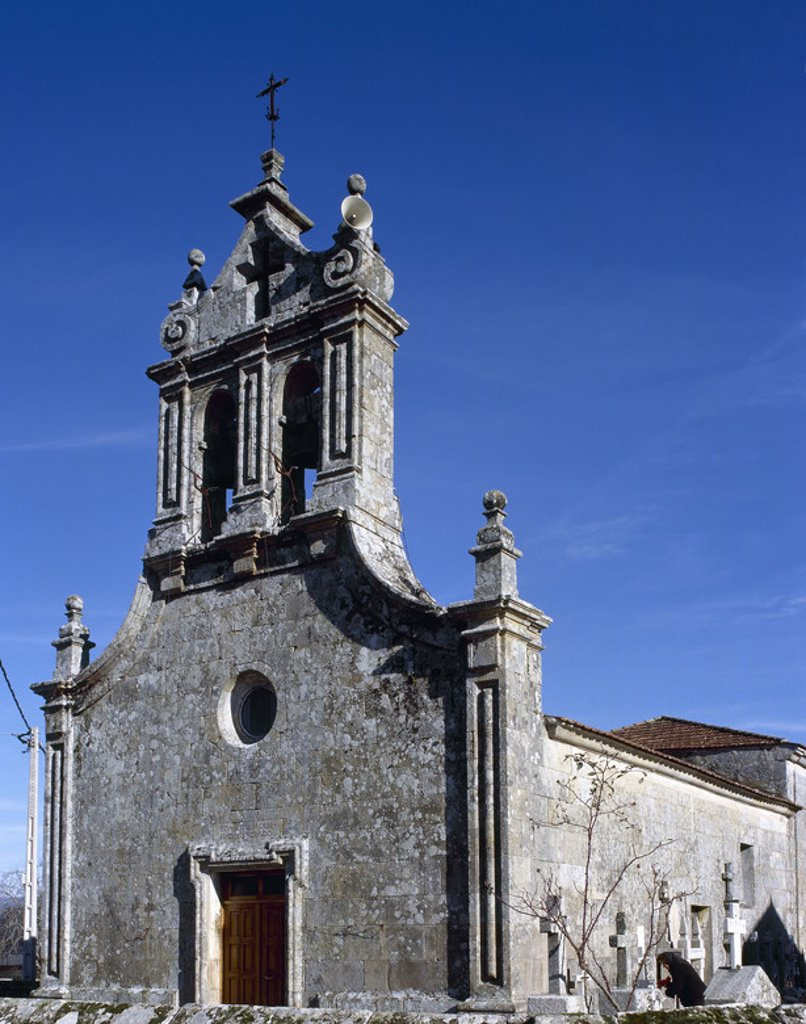 Church of San Juan de los Milagros. Vide. Galicia. Spain. : Stock Photo