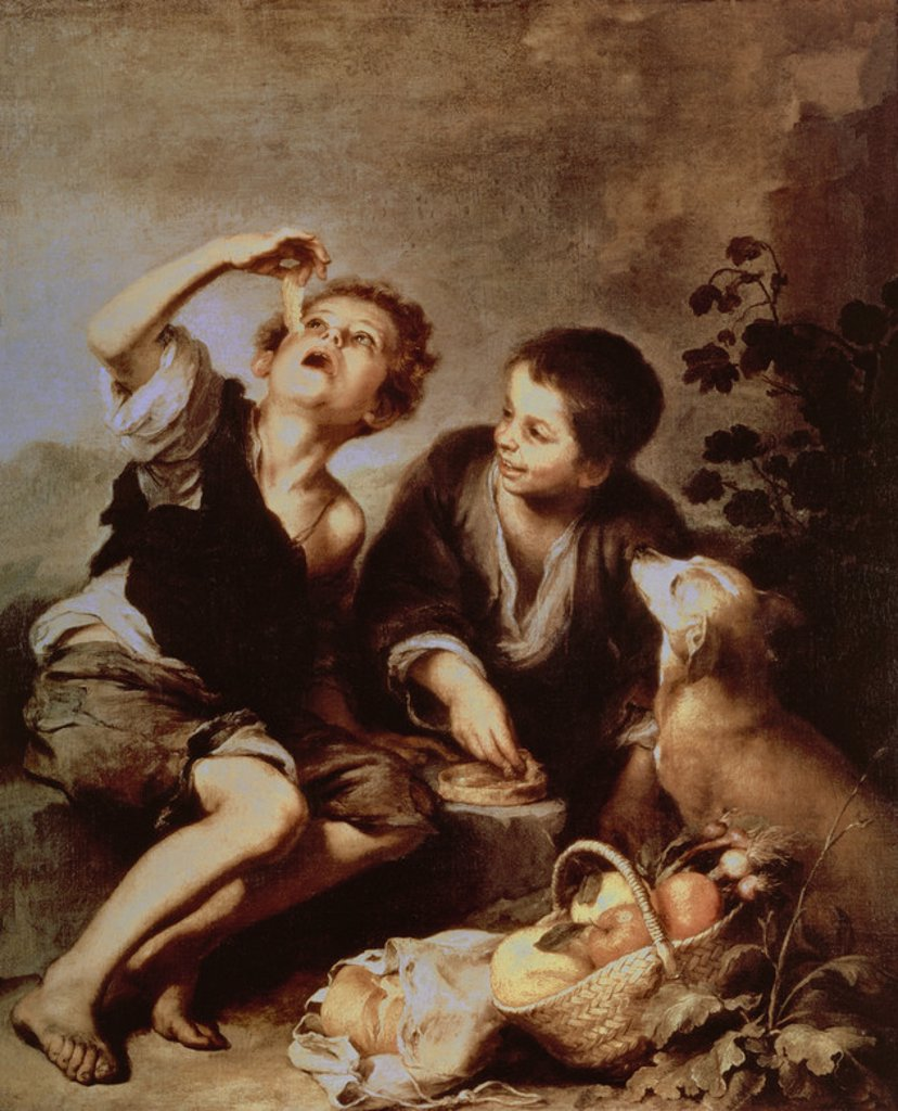Children Eating a Pie - 1670/75 - 123x102 cm - oil on canvas - Spanish Baroque. Author: MURILLO BARTOLOME. Location: ALTE PINAKOTHEK, MUNICH, DEUTSCHLAND. Also known as: NIÑOS COMIENDO PASTEL. : Stock Photo