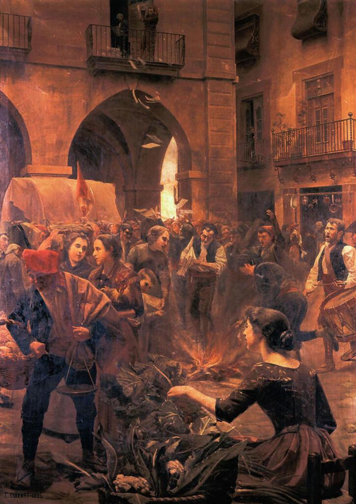 """Stock Photo: 4409-46744 GUERRA DE LA INDEPENDENCIA ESPAÑOLA (1808-1814). (Guerra en territorio catalán). """"El 4 de junio de 1808, una columna francesa al mando de Schwart, salió de Barcelona con órdenes de castigar a la ciudad de Manresa por la-quema del papel sellado francés-de Napoleón Bonaparte"""". """"QUEMA DEL PAPEL SELLADO FRANCES EN LA PLAZA MAYOR DE MANRESA"""". Oleo de Francesc Cuixart i Barjau. Ayuntamiento de Manresa. Cataluña."""