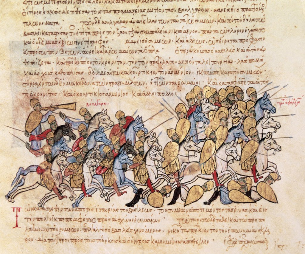 Stock Photo: 4409-46766 John Skylitzes. Synopsis of Histories. Battle between Hungarians and Bulgarians of Simeon I the Great (864-927) won by the Hungarians. Codex of the 12th century. National Library. Madrid. Spain.