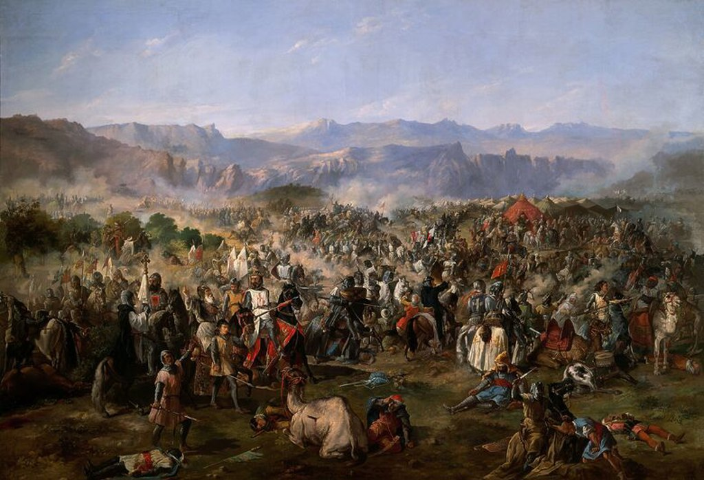 Stock Photo: 4409-4678 Battle of las navas de Tolosa, won by Alphonse VIII against the Moors on the 16 July 1212. Oil on canvas. Madridn Senate. Author: PAULA VAN HALEN FRANCISCO. Location: SENADO-PINTURA, MADRID, SPAIN.