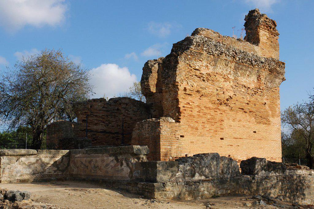 Stock Photo: 4409-46782 Ruins of Milreu. Roman Villa (1st - 4th century A.D.). Religious building of the fourth century A.D. Estoi, near Faro. Algarve. Portugal.