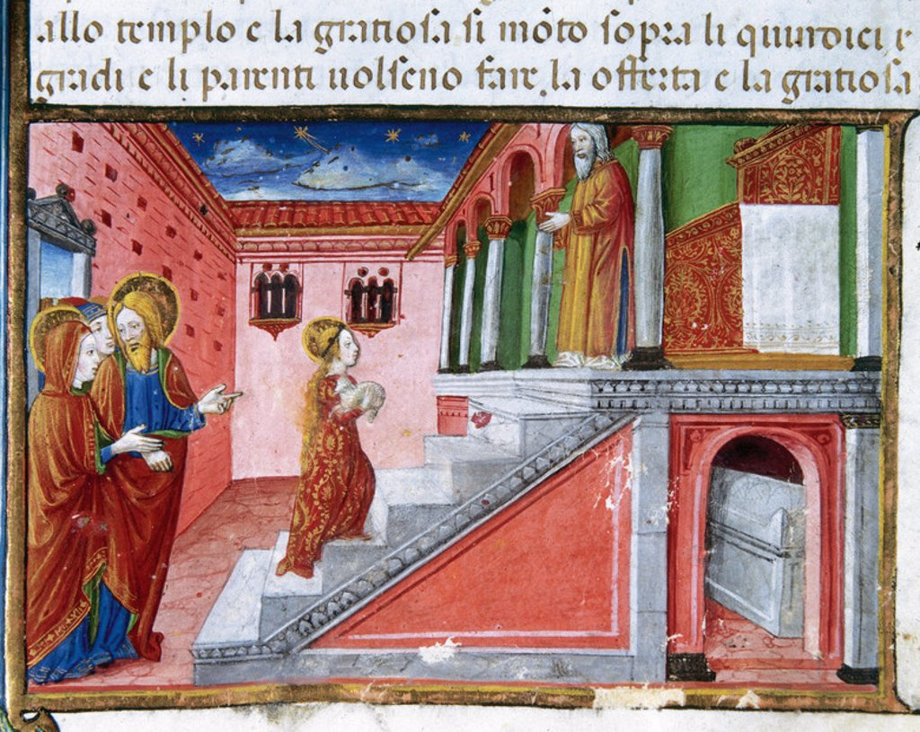 Offering of Mary at the temple. Codex of Predis (1476). Royal Library. Turin. Italy. : Stock Photo