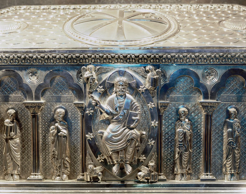 Spain. Galicia. Santiago de Compostela. Cathedral.  The silver coffer holding the remains of St. James. Crypt. Built in 19th century.  Detail Christ pantocrator. : Stock Photo