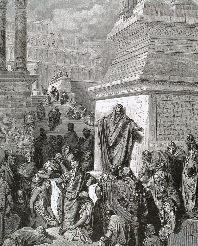 Stock Photo: 4409-46936 Jonah encourages Ninevites to do penitence. Gustave Dore engraving.