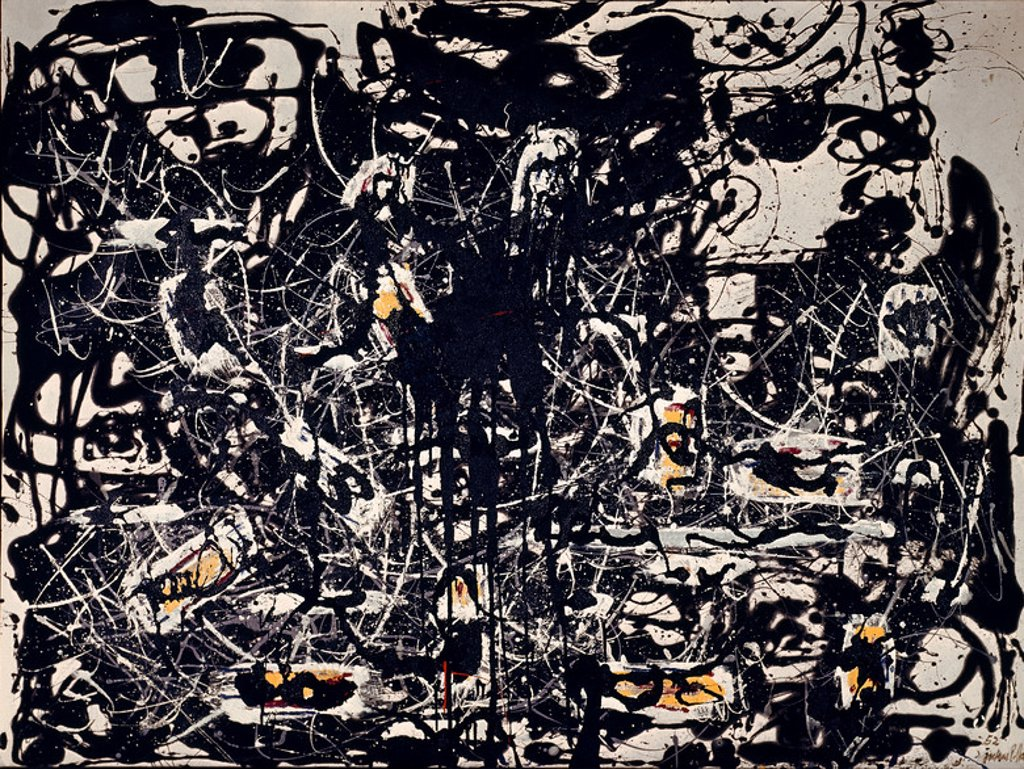 Stock Photo: 4409-4695 Painting. London, Tate Gallery. Author: POLLOCK, JACKSON. Location: TATE GALLERY, LONDON, ENGLAND.