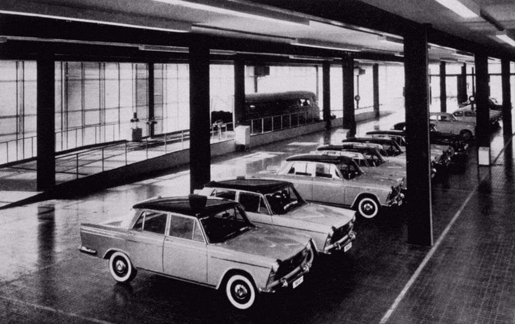 "S.E.A.T. factory in Barcelona's Zona Franca. Car store. Interior. ""Journal of Architecture"", 1960. No. 41. National Library. Madrid. : Stock Photo"