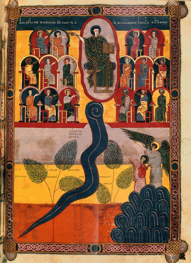 Stock Photo: 4409-4700 Comments of the Apocalypse. The Last Judgement. Madrid, National Library. Author: BEATO DE LIEBANA. Location: BIBLIOTECA NACIONAL-COLECCION, MADRID, SPAIN.