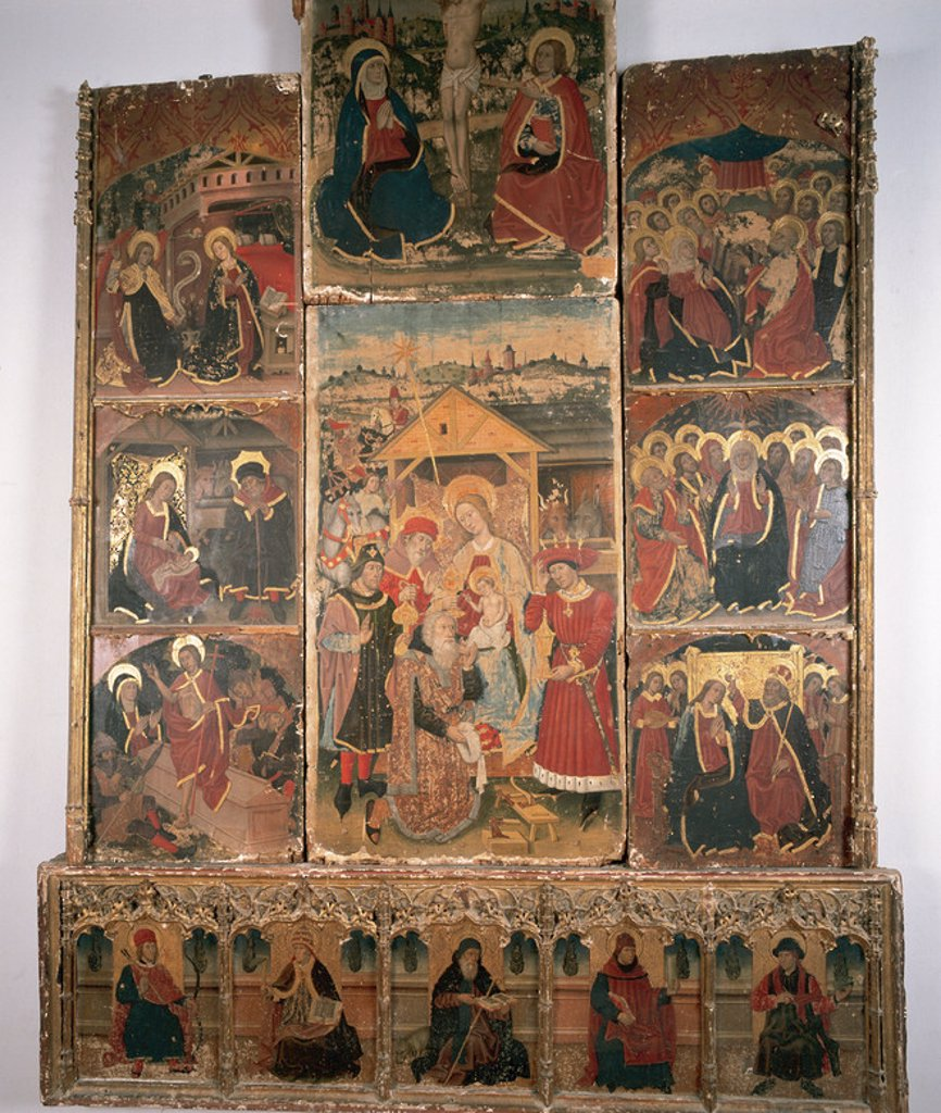 Stock Photo: 4409-47037 Altarpiece of the Epiphany. 15th century. Diocesan Museum. Calatayud. Spain.