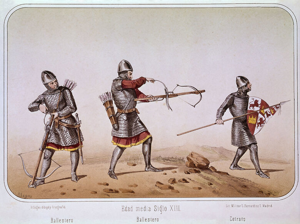 Crossbowmen and soldier with a spear in the 13th century. Madrid, Military historical archives. Author: VILLEGAS. Location: ARCHIVO HISTORICO MILITAR, MADRID, SPAIN. : Stock Photo