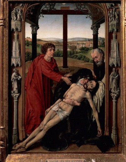 Stock Photo: 4409-47151 Rogier van der Weyden (1400-1464). Flemish painter. Triptych of the Virgin. The Pieta (central table). Virgin Mary cradling dead body of Jesus with Saint John (left) and Saint Joseph of Arimathea (right). The Royal Chapel. Granada. Spain.