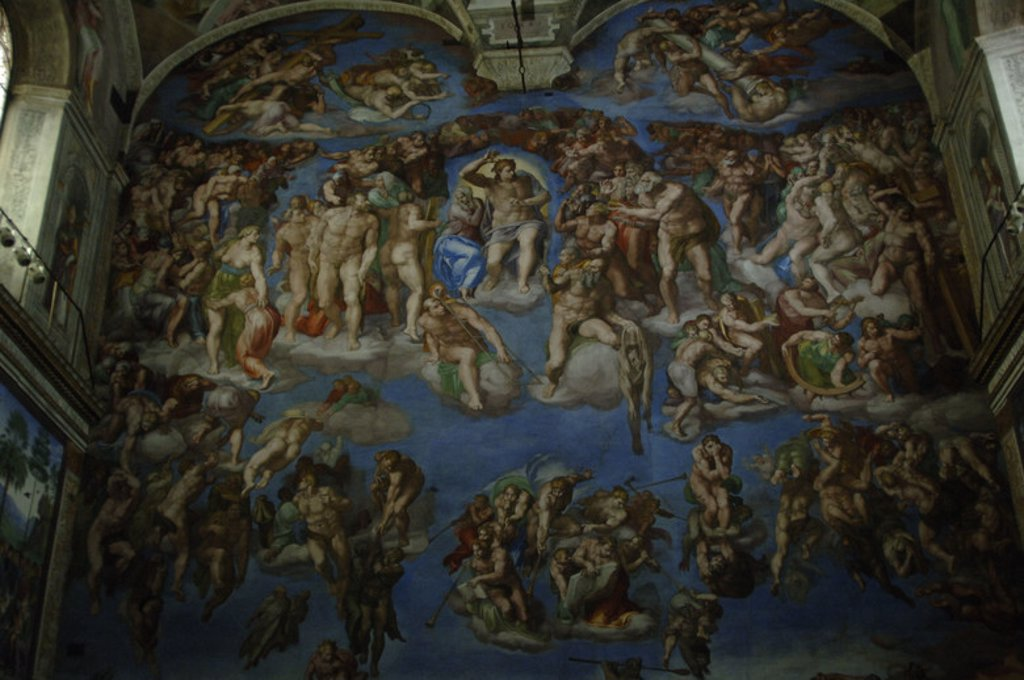 """ARTE RENACIMIENTO. ITALIA. S. XVI. MIGUEL ANGEL (Michelangelo Buonarroti) (1475-1564). Pintor, escultor y arquitecto italiano. FRESCO DEL """"JUICIO FINAL"""" (1536-1541). CAPILLA SIXTINA. Museos Vaticanos. Ciudad del Vaticano. : Stock Photo"""