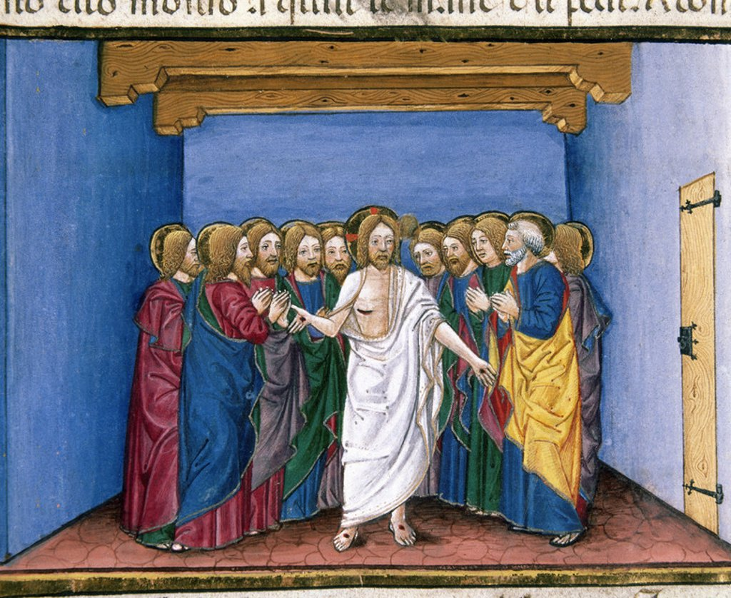 The risen Jesus appears to his disciples gathered in a house for fear of the Jews. Codex of Predis (1476). Royal Library. Turin. Italy. : Stock Photo