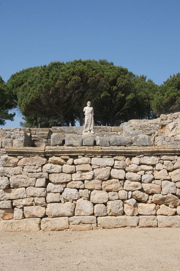 Stock Photo: 4409-47296 Greek Art. Emporium (Ampurias). Greek colony founded by the greeks of Foci, 570 BC. Statue of Asclepius. God of medicin. Neapolis.  Girona province. Catalonia. Spain. Europe.