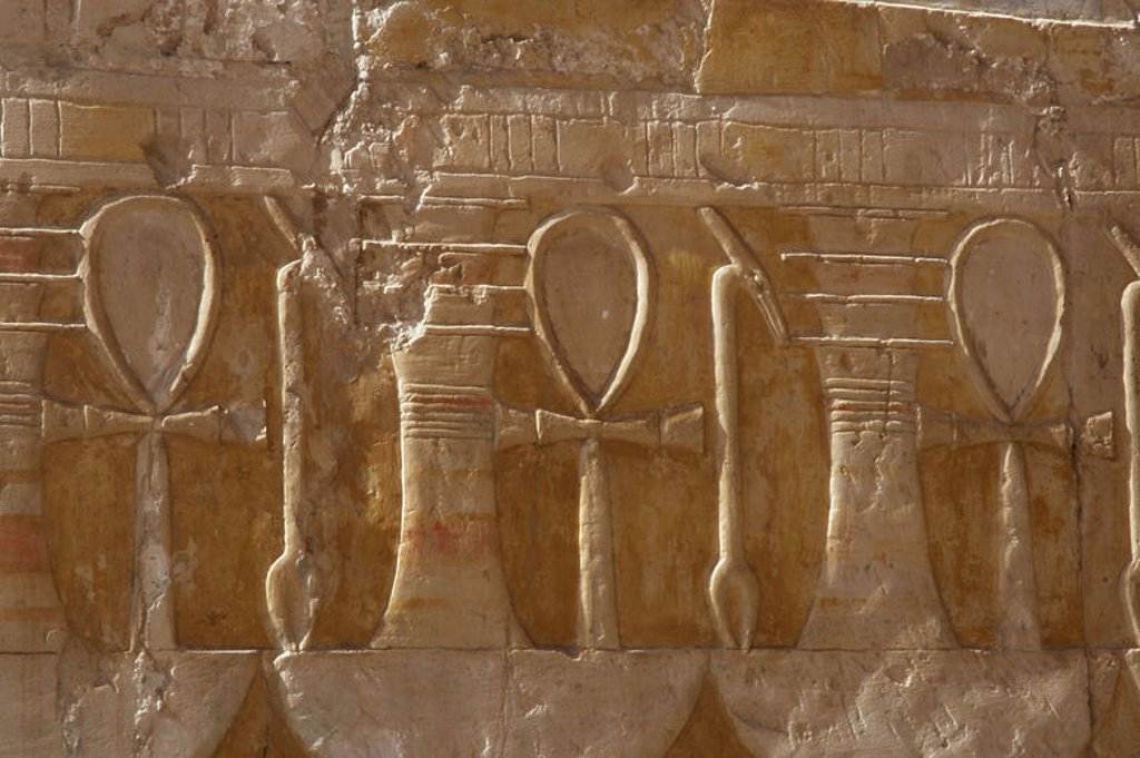 Stock Photo: 4409-47304 Reliefs depicting the ankh, uady, scepter linked to power and wealth and djed pillar, symbol of stability. Temple of Hatshepsut. Temples of Deir el-Bahari. Dynasty XVIII. New Kingdom. Egypt.