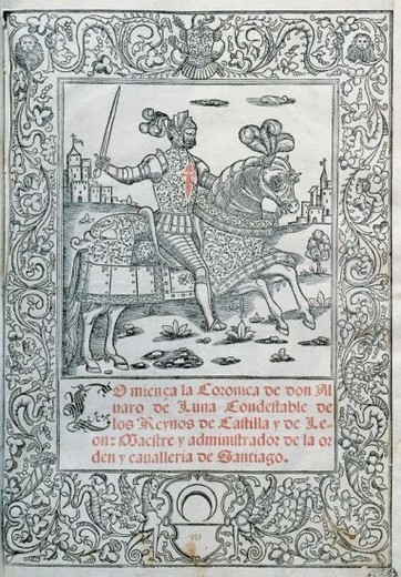 Stock Photo: 4409-47318 Spanish literature. Books of cavalry. Chronicle of Alvaro de Luna (1388 / 1390-1453) Cover. Printed in Milan in 1546. Library of Catalonia. Barcelona. Catalonia. Spain.