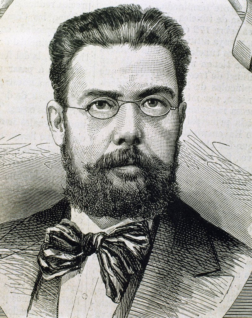 "Stock Photo: 4409-47461 Francisco Perez Echevarri´a (1824-1884). Spanish writer. Engraving by Carretero in ""The Spanish and American Illustration.""."