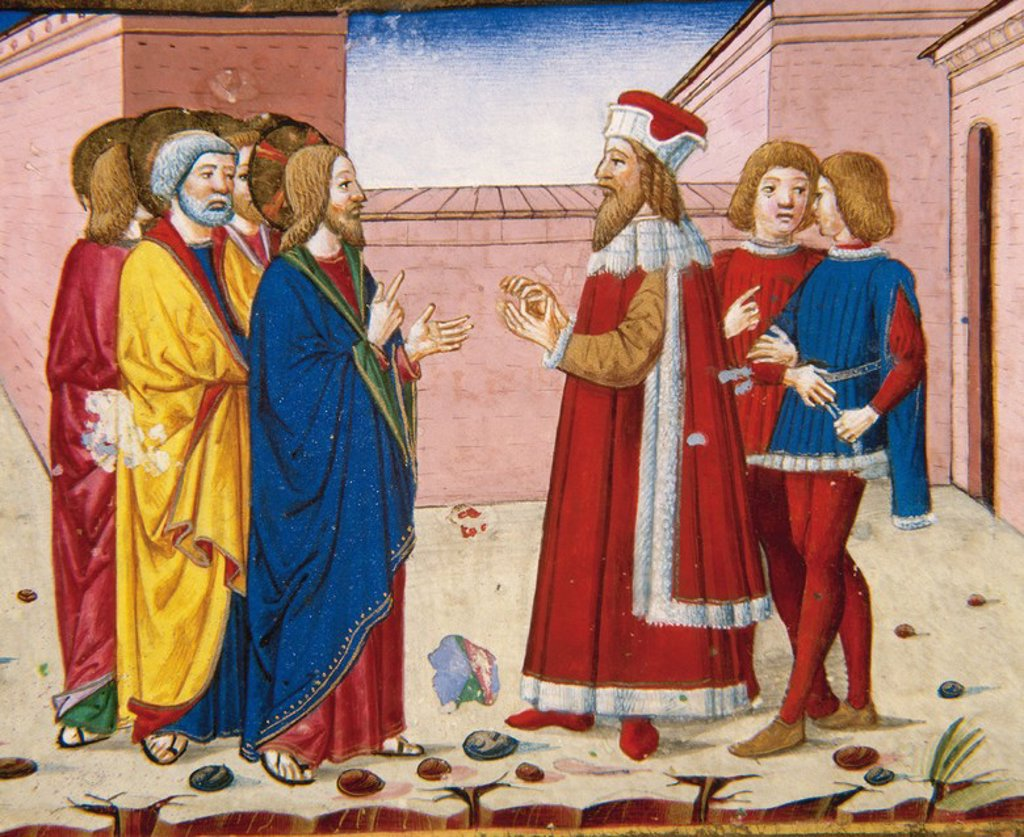Nicodemus wise, Jew and  Pharisee, visits to Jesus. Codex of Predis (1476). Royal Library. Turin. Italy. : Stock Photo