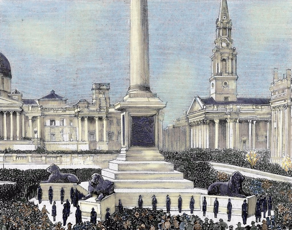 "Meeting of workers unemployed in Trafalgar Square. London. United Kingdom. Engraving by Rico in ""The Spanish and American Illustration,"" 1886. Coloured. : Stock Photo"
