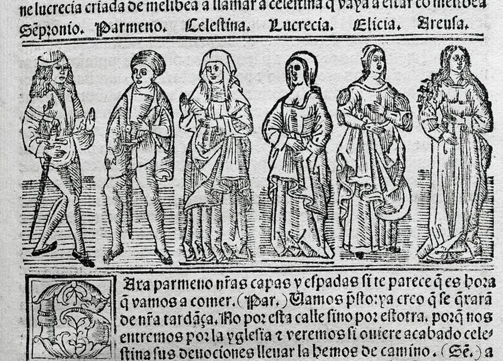 """Stock Photo: 4409-47689 LITERATURA CASTELLANA. S. XV. """"LA CELESTINA"""" o """"TRAGICOMEDIA DE CALISTO Y MELIBEA"""" (1499), obra escrita por el escritor español Fernando DE ROJAS (Puebla de Montalbán, h. 1465-Talavera de la Reina, 1541). Representación de los personajes SEMPRONIO, PARMENO, CELESTINA, LUCRECIA, ELICIA Y AREUSA"""". Grabado de la edición impresa en Burgos en 1531. Biblioteca de Cataluña. Barcelona."""