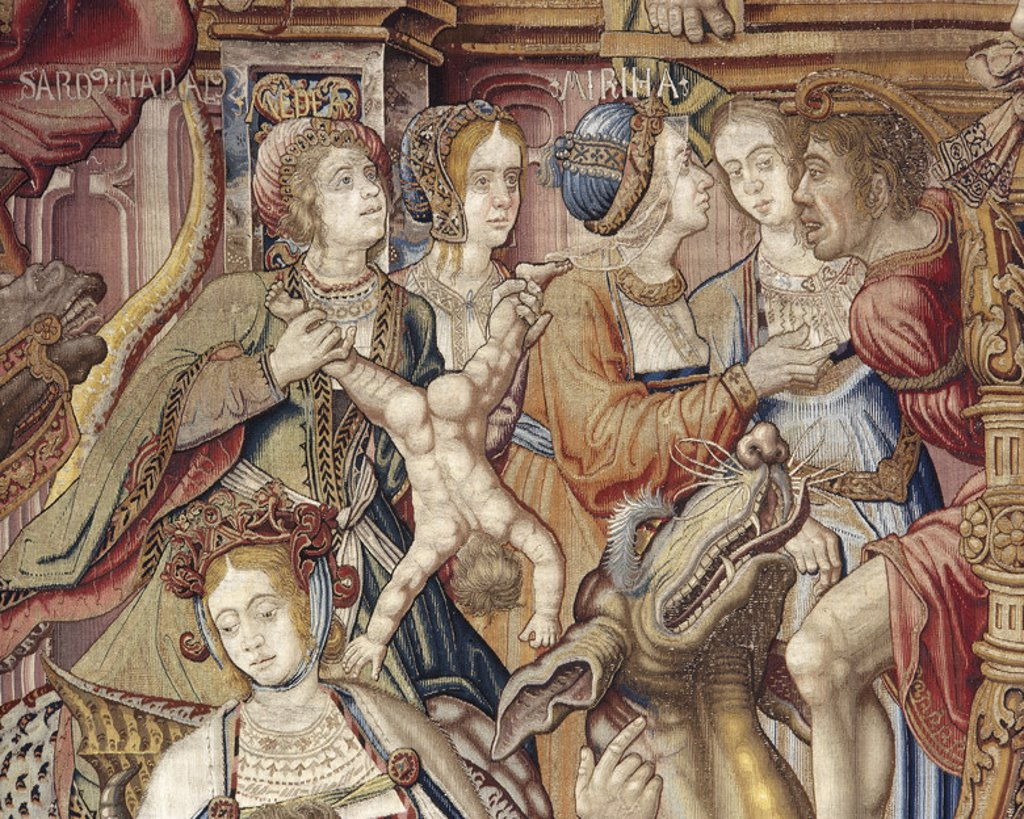 Stock Photo: 4409-47825 Tapestry Series Honours and Virtues. Detail. Made in Brussels. 16th century. Tapestry Museum. Royal Palace of La Granja de San Ildefonso. Spain. National Heritage.